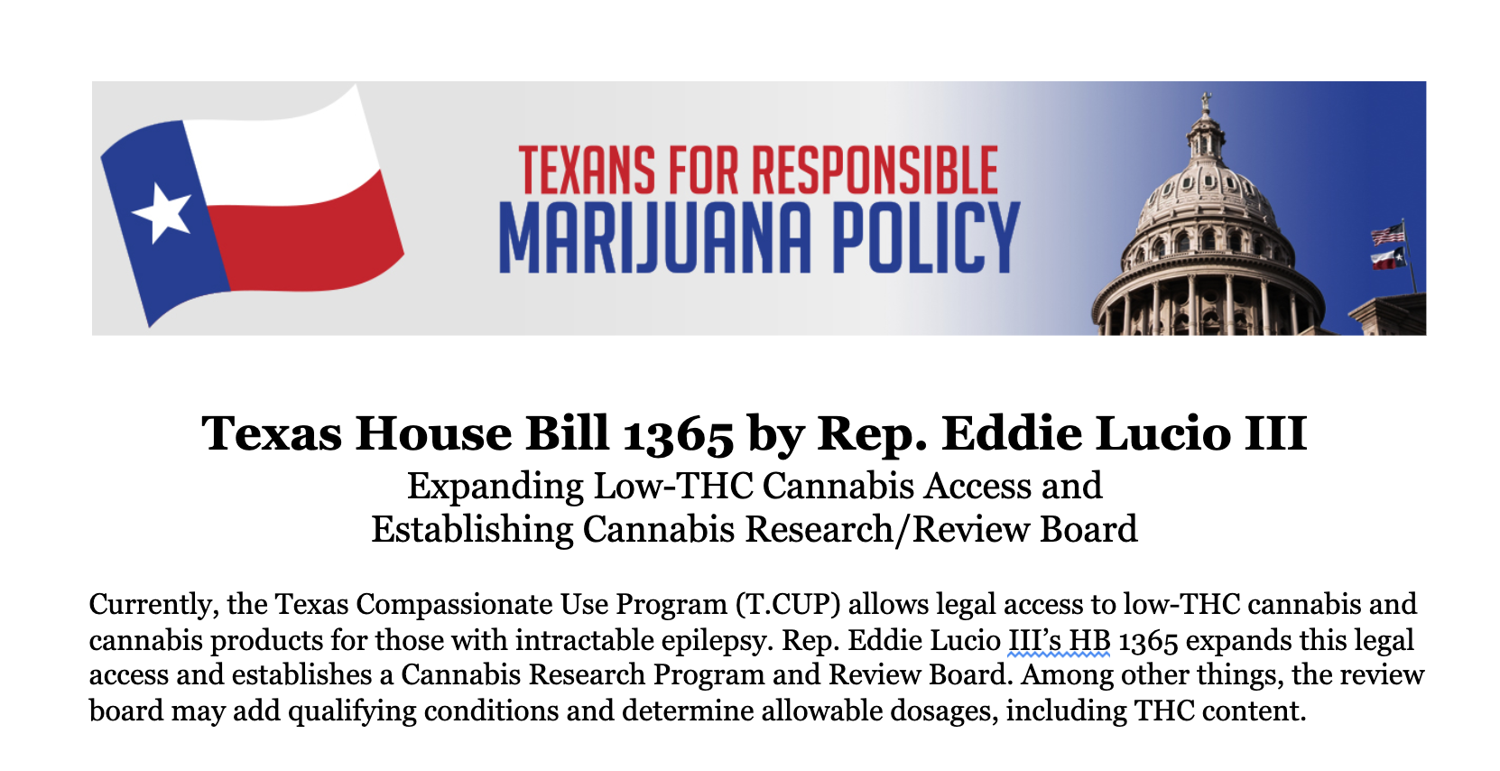 Policy Overview: Rep  Lucio's HB 1365 (Medical Cannabis