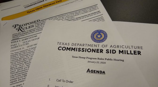 Texas Hemp: Public Hearing on Proposed Rules/Regulations