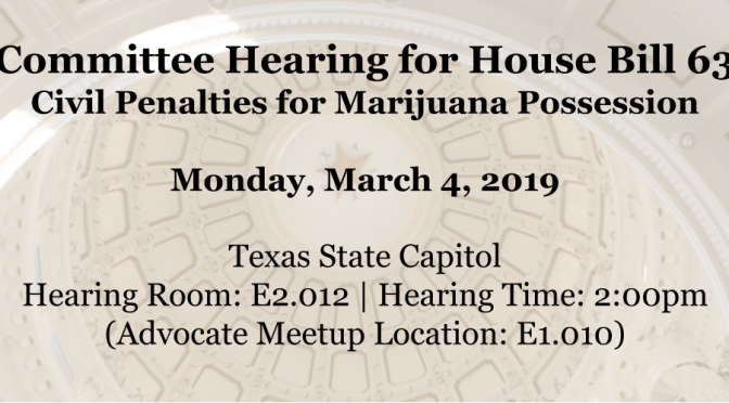 Committee Hearing Scheduled for Texas HB 63 – Civil Penalty for Marijuana Possession