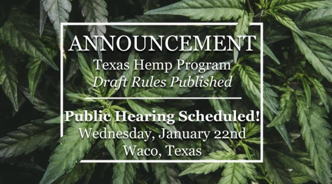 Commissioner Sid Miller Announces Public Hearing for State Hemp Program